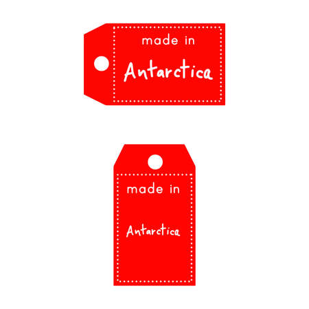 internationally: red price tag or label with white word Made in Antarctica isolated on white background.
