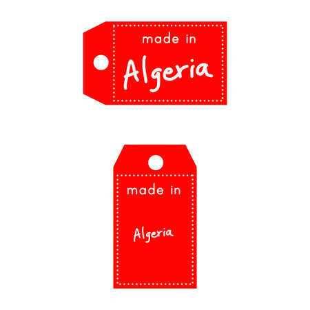 internationally: red price tag or label with white word Made in Algeria isolated on white background.