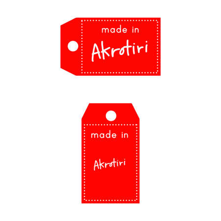 internationally: red price tag or label with white word Made in Akrotori isolated on white background. Illustration