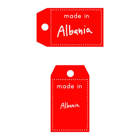 internationally: red price tag or label with white word Made in Albania isolated on white background. Illustration