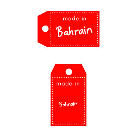 internationally: red price tag or label with white word Made in Bahrain isolated on white background