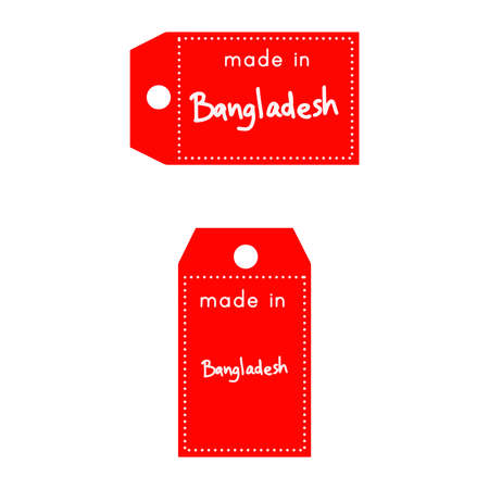 internationally: red price tag or label with white word Made in Bangladesh isolated on white background. Illustration