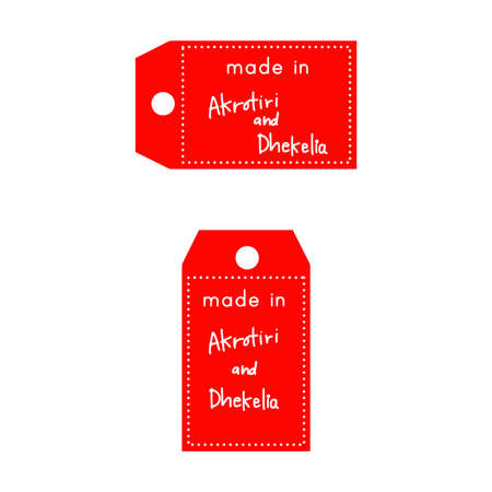 internationally: red price tag or label with white word Made in Akrotiri and Dhekelia isolated on white background. Illustration