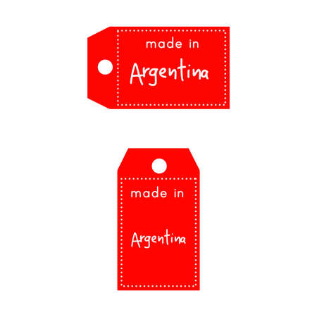 internationally: red price tag or label with white word Made in Argentina isolated on white background. Illustration