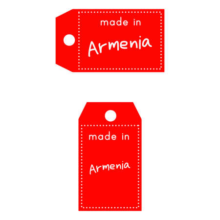 internationally: red price tag or label with white word Made in Armenia isolated on white background. Illustration