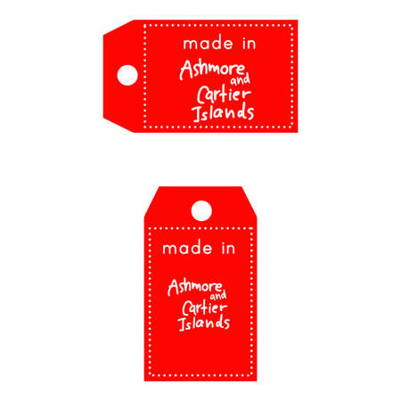 internationally: red price tag or label with white word Made in Ashmore and Cartier Islands isolated on white background. Illustration