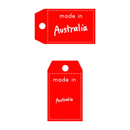 internationally: red price tag or label with white word Made in Australia isolated on white background.