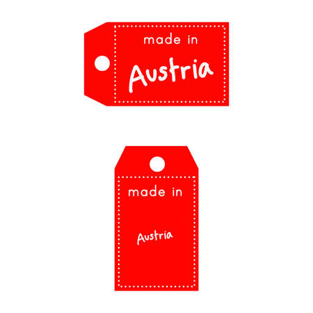 internationally: red price tag or label with white word Made in Austria isolated on white background.