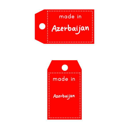 internationally: red price tag or label with white word Made in Azerbaijan isolated on white background