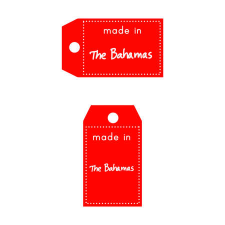 red price tag or label with white word Made in The Bahamas isolated on white background.
