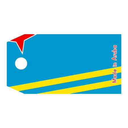 aruba flag: Aruba flag on price tag with word Made in Aruba isolated on white background.