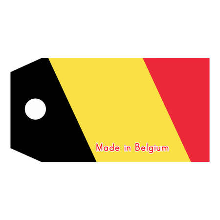 made in belgium: vector illustration of Belgium flag on price tag with word Made in Belgium isolated on white background.
