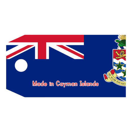cayman: illustration of Cayman Islands flag on price tag with word Made in Cayman Islands isolated on white background.