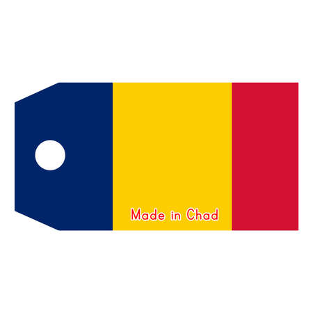 chad flag: illustration of Chad flag on price tag with word Made in Chad isolated on white background. Illustration