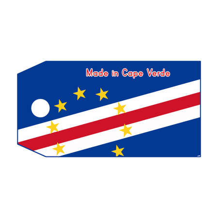 cape verde flag: illustration of Cape Verde flag on price tag with word Made in Cape Verde isolated on white background.