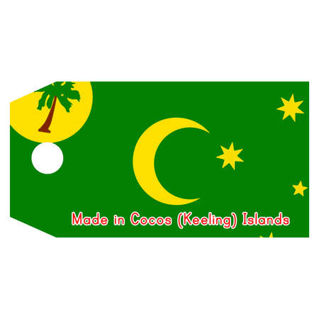 cocos: illustration of Cocos (Keeling) Islands flag on price tag with word Made in Cocos (Keeling) Islands isolated on white background Illustration