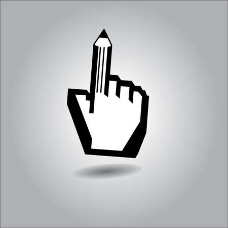 cursor hand: illustration of cursor hand with pointing finger as pencil. Illustration