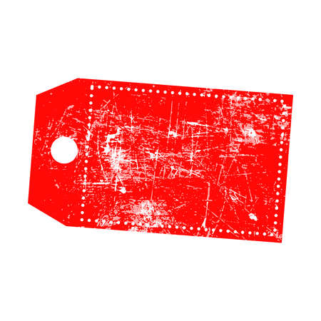 illustration grunge stamp of empty red price tag with marks of omission.
