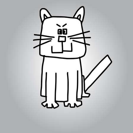 illustration hand drawn doodles white cat sitting