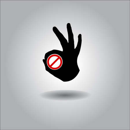 nonverbal: Silhouette All-Fine OK Hand with forbidden sign. Illustration