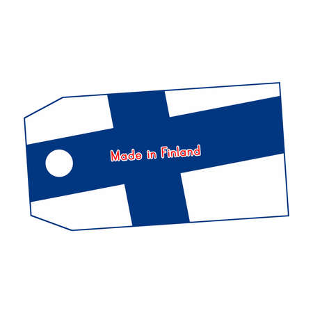 made in finland: Finland flag on price tag with word Made in Finland isolated on white background.