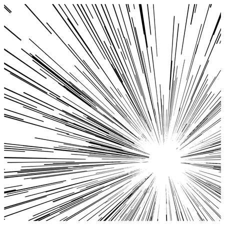 lineas horizontales: ilustración vectorial velocidad de movimiento abstracto líneas negras, con círculo en el centro.