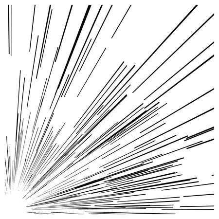 black lines: illustration vector abstract speed motion black lines from the corner of the picture. Illustration