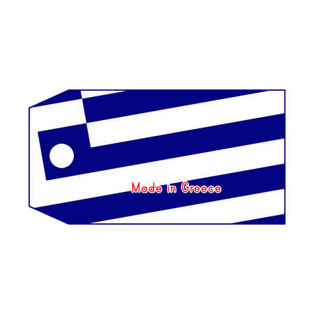 made in greece: Greece flag on price tag with word Made in Greece isolated on white background