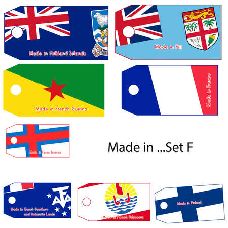 made in finland: illustration vector price tag with word Made in countrys name start with letter F.