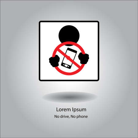 illustration vector icon stop phone when driving in car. Vectores