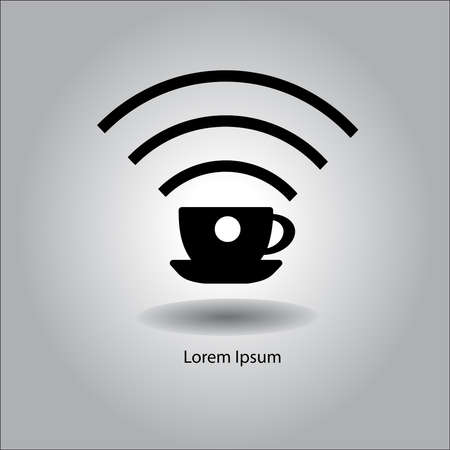 Refreshments: illustration vector black cup with wireless signal sign symbol