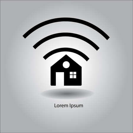 wireless signal: illustration vector home icon with wireless signal sign symbol