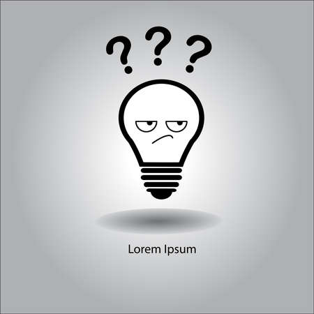 questionmark: illustration vector bulb with curious face and three question mark Illustration