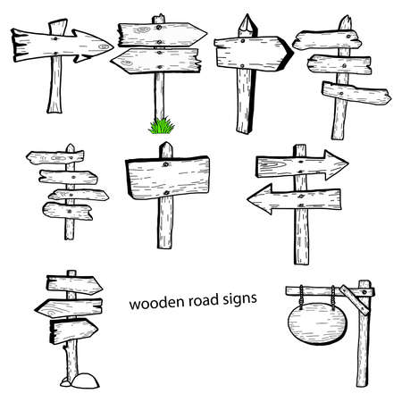 illustration vector doodles hand drawn wooden road signs collection.