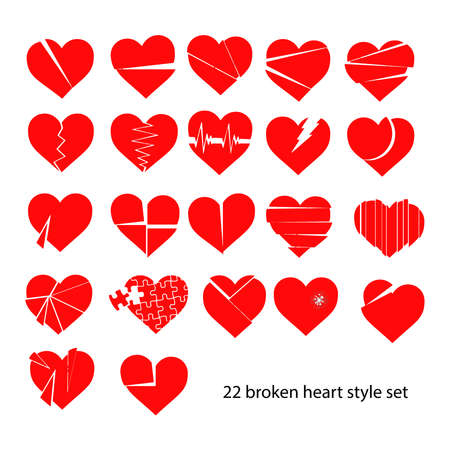 illustration vector set of red broken heart siolated Çizim