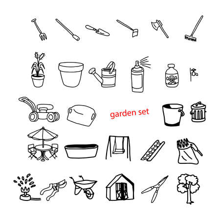 patio furniture: illustration vector doodles hand drawn objects in backyard garden.