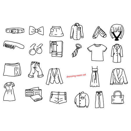 blazer: illustration vector doodles hand drawn objects in dressing room.