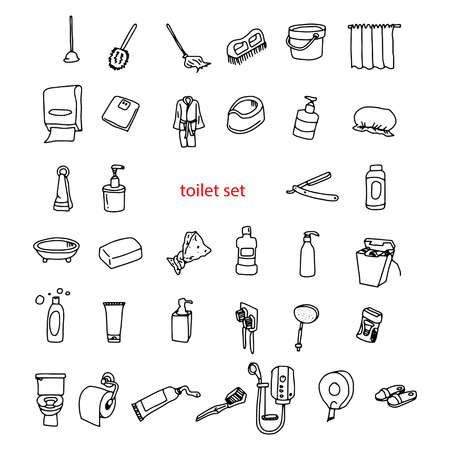 illustration vectorielle main griffonnages d'objets en jeu de toilettes dessinée Vecteurs