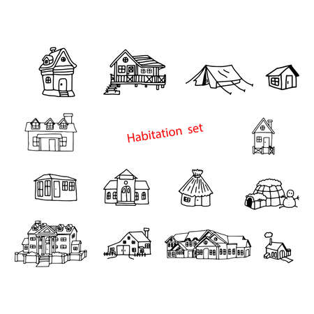 the habitation: illustration vector doodles hand drawn of habitation or resident