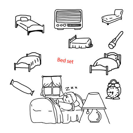 headboard: illustration vector doodles hand drawn objects in bedroom