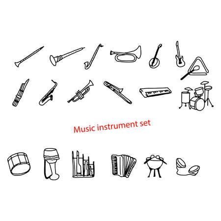 fagot: Doodles ilustracji wektorowych ręcznie rysowane zestaw muzyczny Instrument