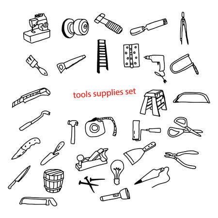 illustration vector doodles hand drawn tools supplies set