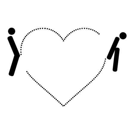 illustrazione uomo: illustration man and woman toilet sign with dotted heart