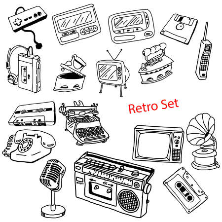 pager: illustration vector doodles hand drawn set of retro-styled objects isolated Illustration