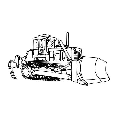 construction equipment: illustration vector doodles hand drawn loader bulldozer excavator machine isolated