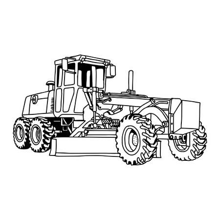 heavy industry: illustration vector doodles hand drawn of excavator grader machine