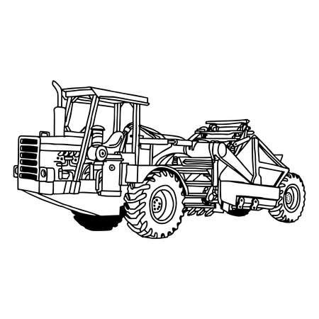 scraper: illustration vector doodles hand drawn of wheel tractor scraper isolated