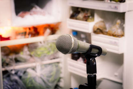 electronic background: microphone on the background of blurred open refrigerator. soft focus .shallow depth of field. Vintage style and filtered process. Stock Photo