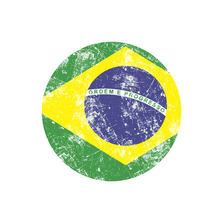 brazil country: illustration vector grunge stamp round flag of brazil country