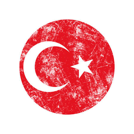 stamp: illustration vector grunge stamp round flag of turkey country